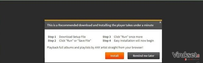 'Infected files have corrupted your Flash Player' virus kuvankaappaus
