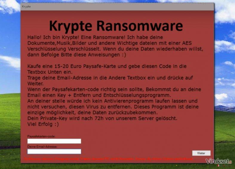 Krypte virus displays ransom note in German language