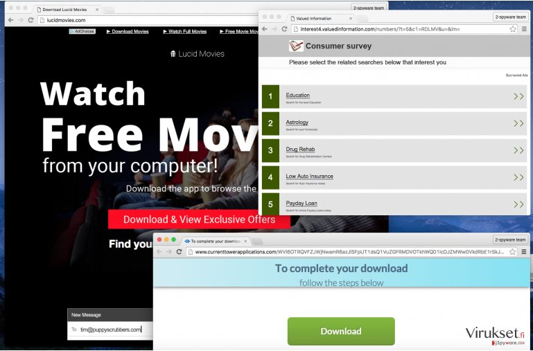 Pop-up windows come up even from official website of Lucid Movies virus