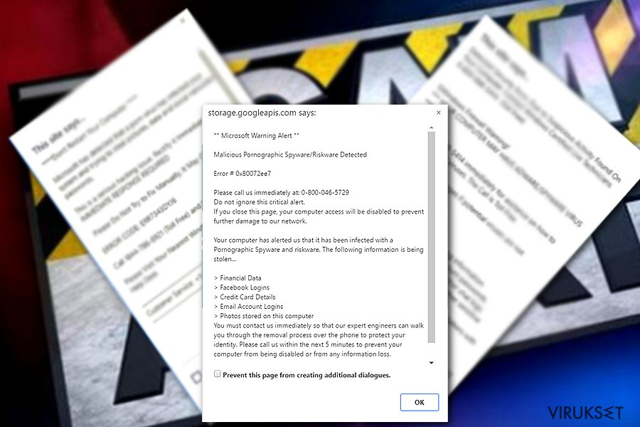 """Microsoft Warning Alert"" Tech support scam virus"