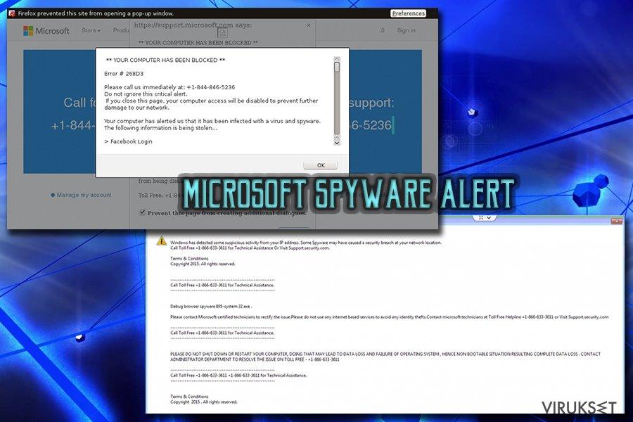 """Microsoft Warning Alert"" Tech support scam virus kuvankaappaus"