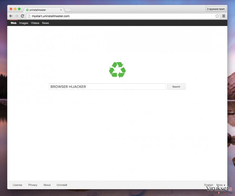Mystart.uninstallmaster.com browser redirect virus