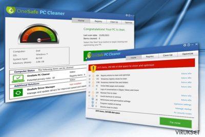 Kuva OneSafe PC Cleaner ohjelmasta