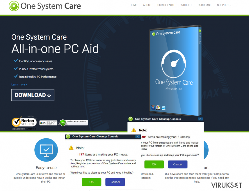 The example of fake ads by One System Care virus
