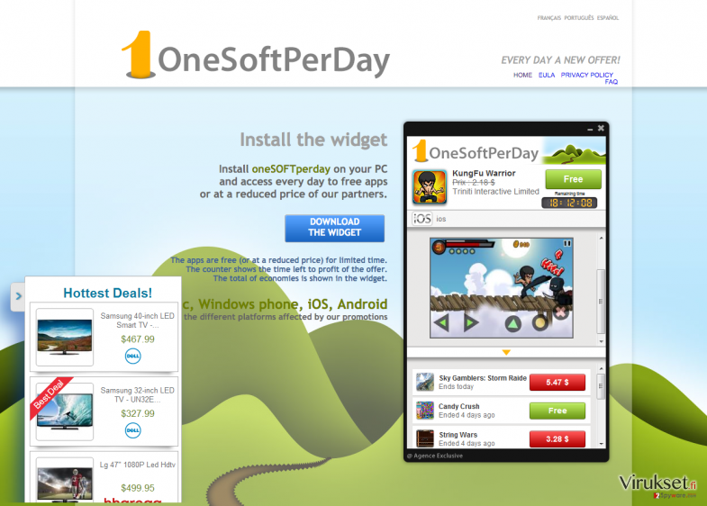 The main page of OneSoftPerDay and ads that are caused by this program