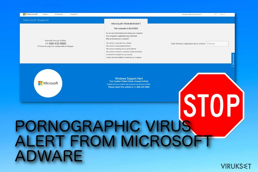 PORNOGRAPHIC VIRUS ALERT FROM MICROSOFT pop-up huijaus.