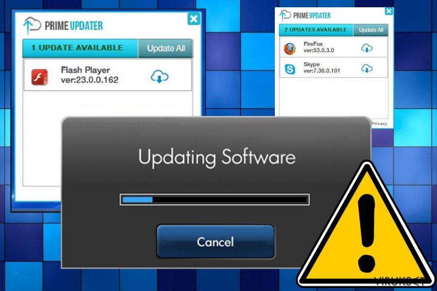 Prime Updater virus kuvankaappaus