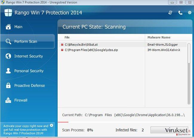 Rango Win 7 Antivirus 2014 kuvankaappaus