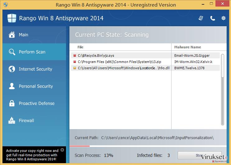 Rango Win 8 Antispyware 2014 kuvankaappaus