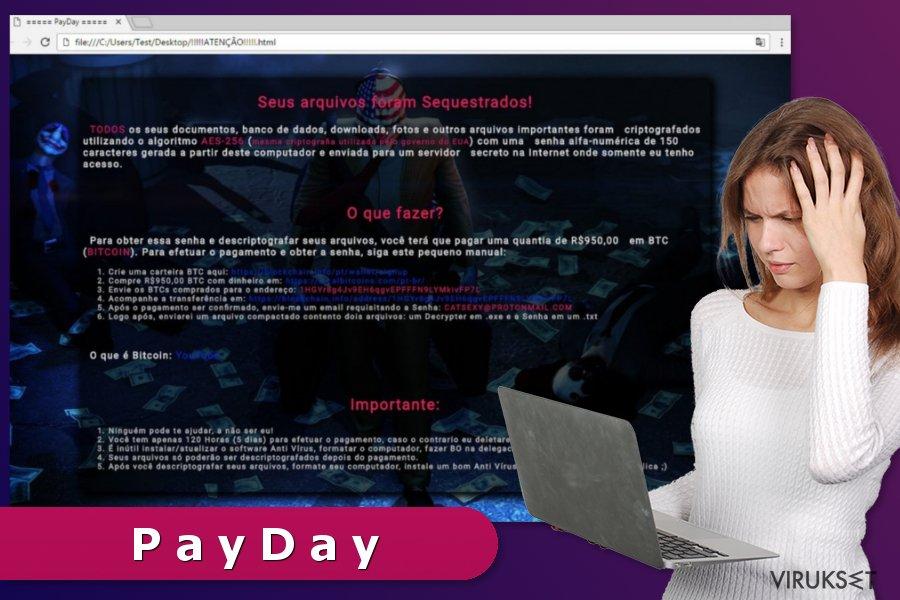 PayDay lunnasohjelma viruksen lunnasviesti