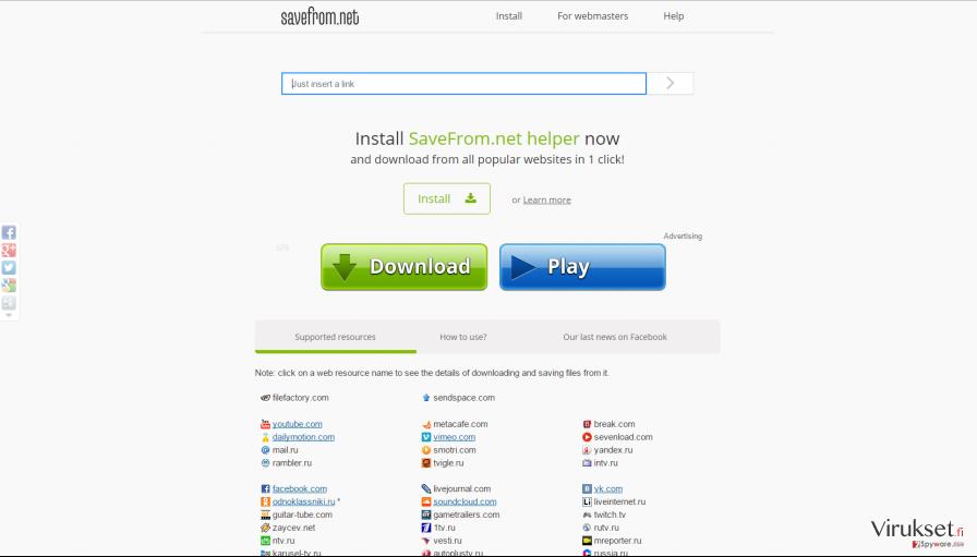 Official website of Savefrom.net helper