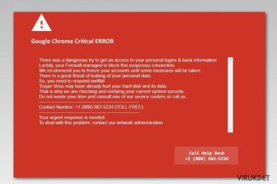 Google Chrome Critical Error kuvankaappaus