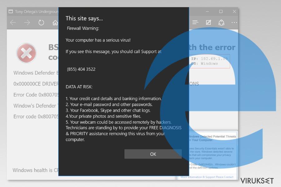 Microsoft Edge viruksen kuvankaappaus