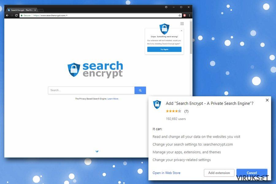 Search Encrypt kuvankaappaus