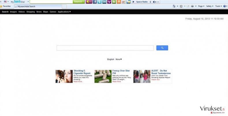 Start.mysearchdial.com uudellenohjaus kuvankaappaus