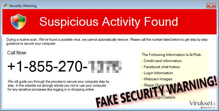 Security Warning (Fake) scam pop-up message