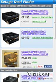 Setaga Deal Finder kuvankaappaus