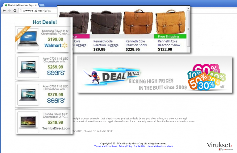 Feraturing DealNinja download page covered with ads