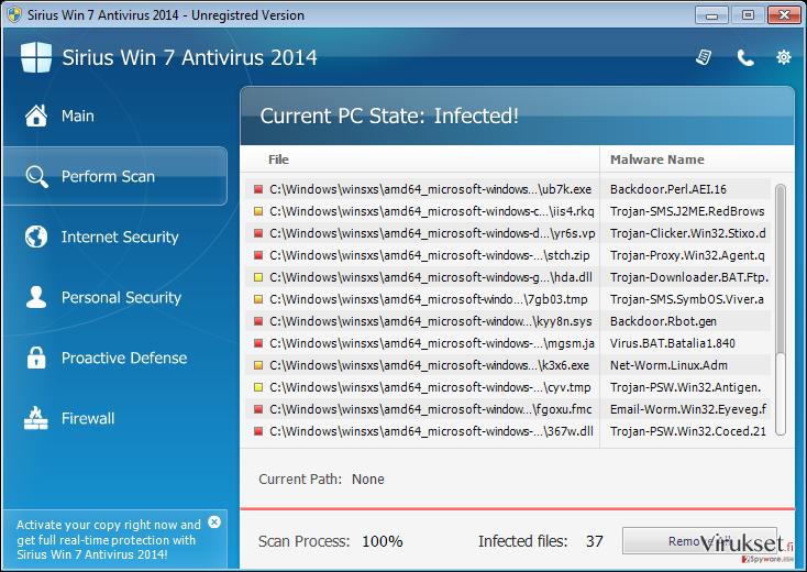 Sirius Win 7 Antivirus 2014 kuvankaappaus