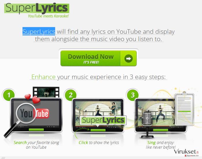 SuperLyrics mainokset kuvankaappaus