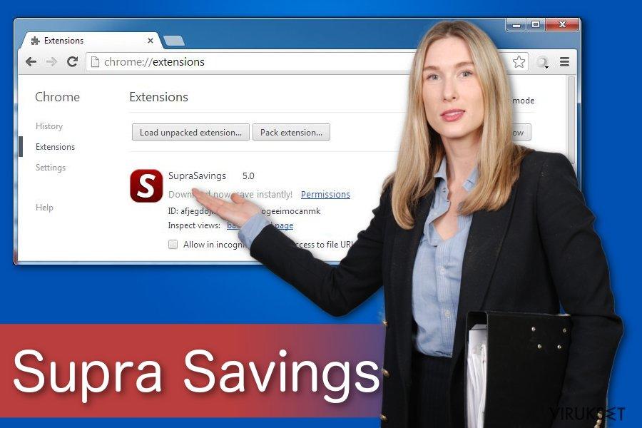 """""""Ads by Supra Savings"""" virus kuvankaappaus"""