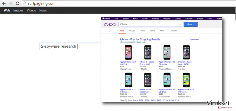 showing how the hompage looks like after surfpageing.com hijack
