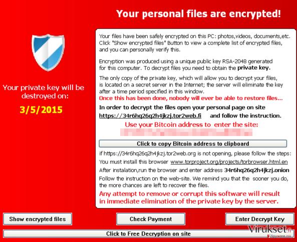 TeslaCrypt 2.0 virus