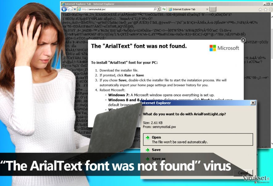 """The ArialText font was not found"" haittaohjelma"
