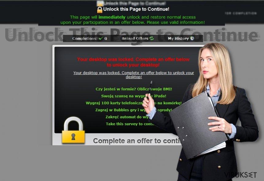 """Kuva paljastaa """"Unlock This Page to Continue"""" hälytykset"""