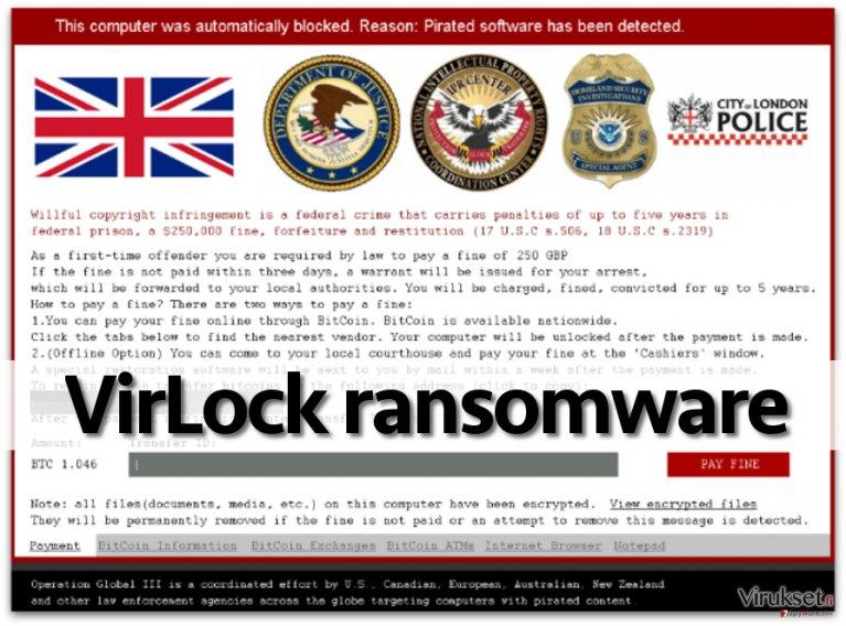 VirLock ransomware note