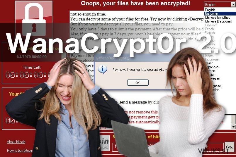WanaCrypt0r 2.0 lunnasohjelma viruksen kuva