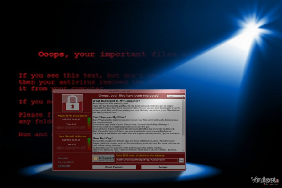 Kuva näyttää WannaCry 3.0 saapumisen