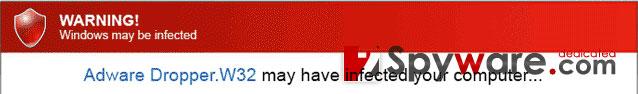 Warning! Windows may be infected kuvankaappaus