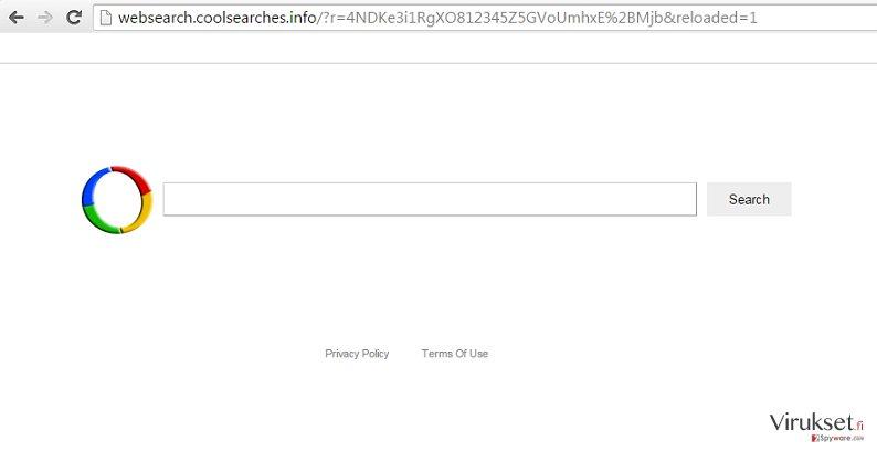 Websearch.coolsearches.info uudelleenohjaus kuvankaappaus