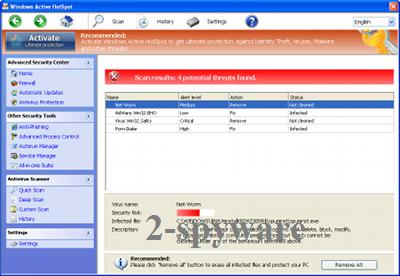 Windows Active HotSpot kuvankaappaus