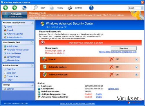 Windows AntiBreach Module kuvankaappaus
