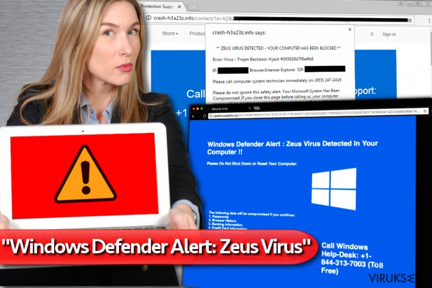 """Windows Defender Alert: Zeus Virus"" Tech Support Scam kuvankaappaus"