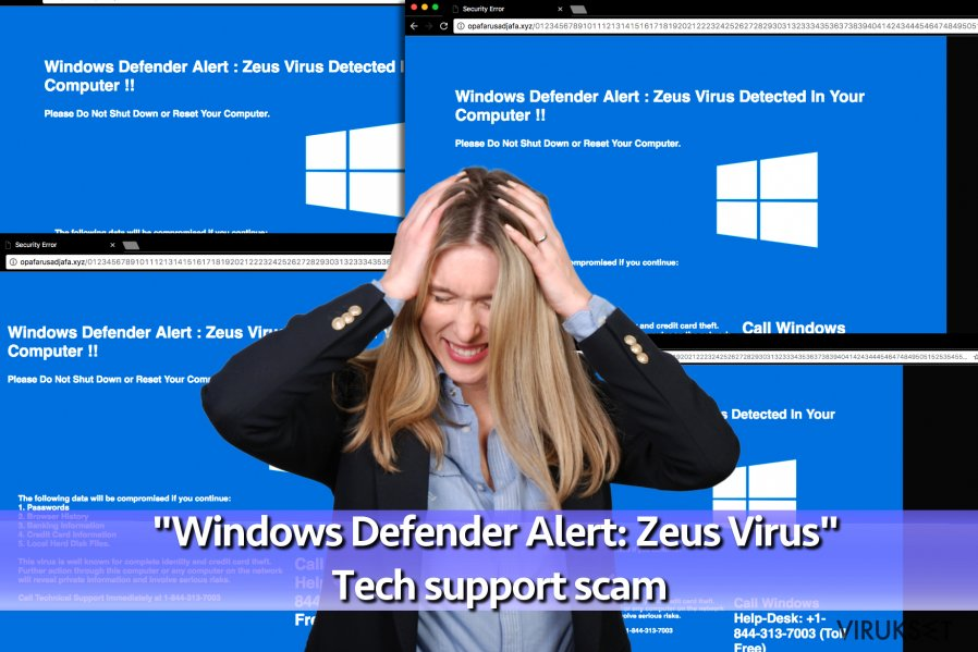 """Windows Defender Alert: Zeus Virus"" Teknisen tuen huijaus virus"