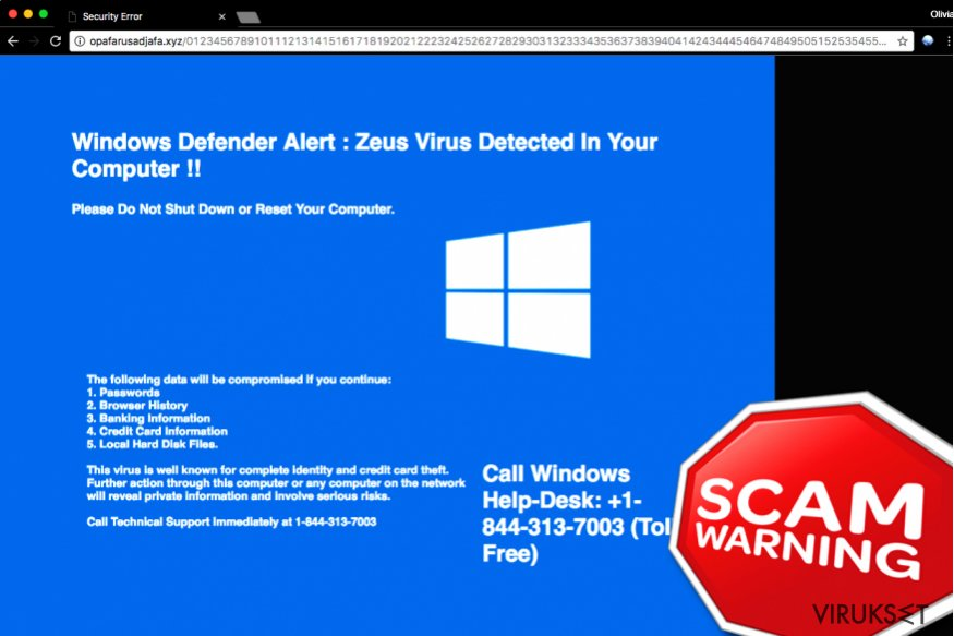 """Windows Defender Alert: Zeus Virus"" Teknisen tuen huijaus"