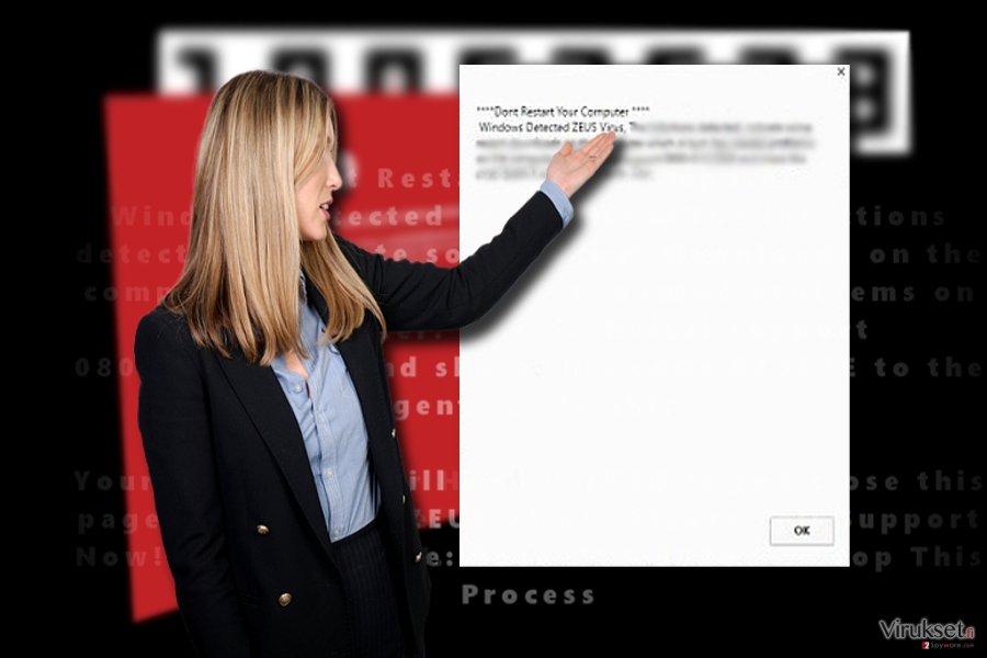 """""""Windows Detected ZEUS virus"""" kuvankaappaus"""