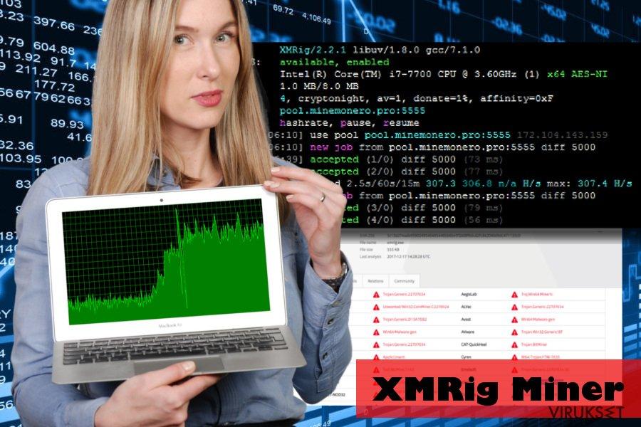 XMRig haittaohjelma käyttää CPU resursseja hyväkseen