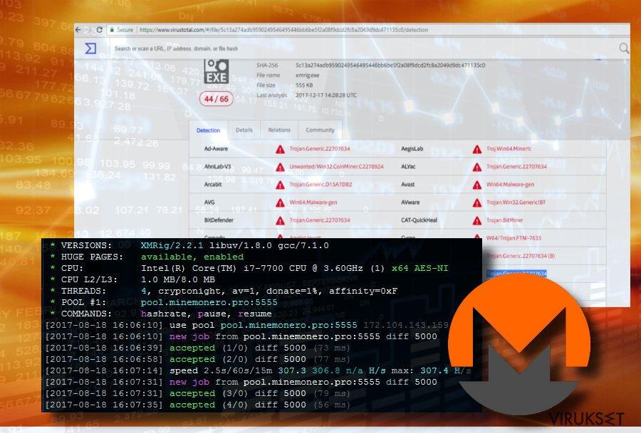 XMRig Miner Trojan processes