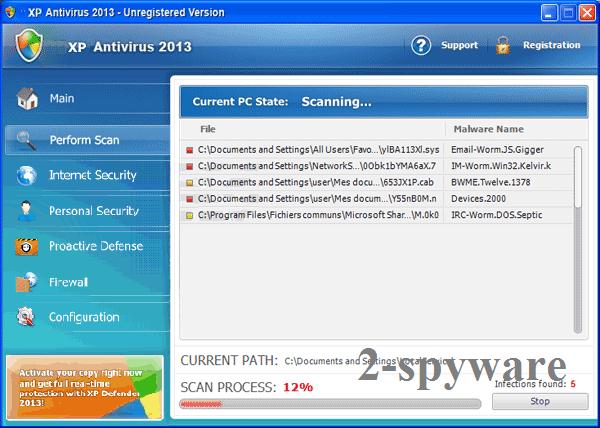 XP Antivirus 2013 kuvankaappaus