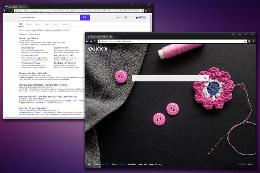 Yahoo Uudelleenohjaus virus kuvankaappaus