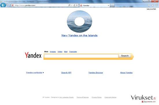 Yandex Työkalupalkki Uudellenohjaus kuvankaappaus