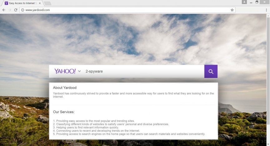 The screenshot of the search engine provided by Yardood.com virus