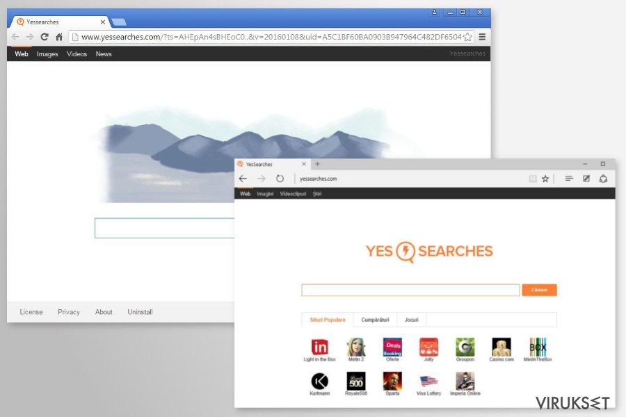 YesSearches.com uudelleenohjaus kuvankaappaus