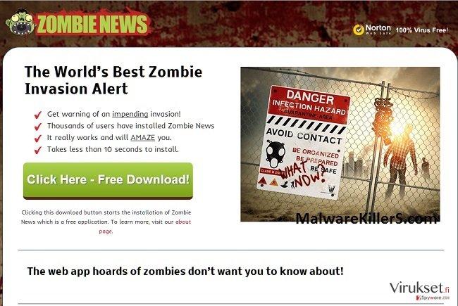 Zombie News mainosohjelma kuvankaappaus
