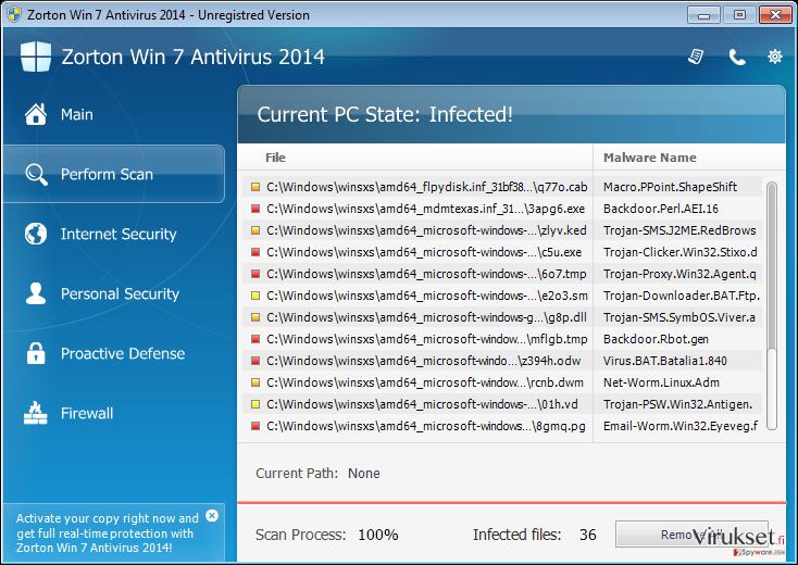 Zorton Win 7 Antivirus 2014 kuvankaappaus